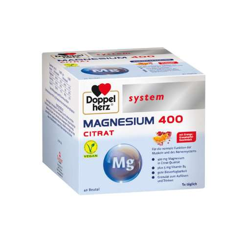 DOPPELHERZ Magnesium 400 Citrat system Granulat - Bundle